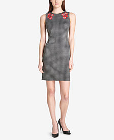Tommy Hilfiger Embroidered Houndstooth Sheath Dress