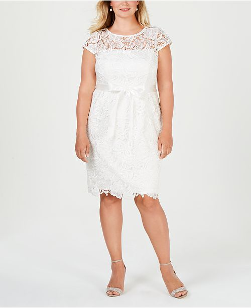 Adrianna Papell Plus Size Illusion Corded Lace Dress Dresses