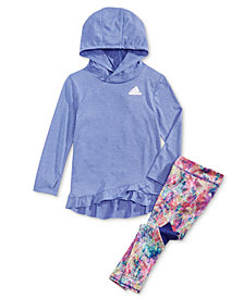 adidas Little Girls Ruffle-Hem Hoodie & Printed Leggings
