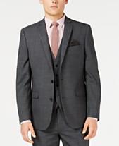 Bar III Men s Slim-Fit Active Stretch Gray Windowpane Sharkskin Suit  Jacket cd63f3af0a6