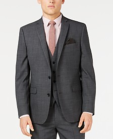 Bar III Men's Slim-Fit Active Stretch Gray Windowpane Sharkskin Suit Jacket, Created for Macy's