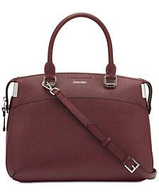 Calvin Klein Raelynn Saffiano Leather Satchel