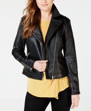 I.n.c. Petite Faux-Leather Moto Jacket, Created for Macy's