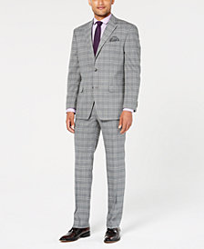 Sean John Men's Classic-Fit Stretch Light Gray Plaid Suit Separates