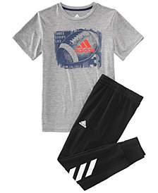 adidas Big Boys Ball-Print T-Shirt	 & Jogger Pants
