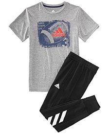 adidas Big Boys Ball-Print T-Shirt & Jogger Pants