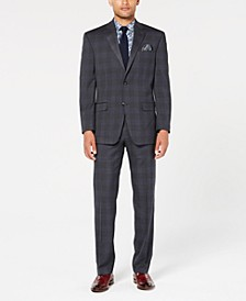 Men's Classic-Fit Stretch Gray/Blue Plaid Suit Separates