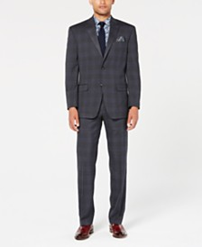 Sean John Men's Classic-Fit Stretch Gray/Blue Plaid Suit Separates