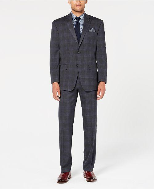Sean John Men's Classic-Fit Stretch Gray/Blue Plaid Suit Separates