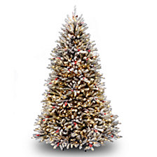 National Tree 7' Dunhill®  Fir Hinged Tree with Snow, Red Berries, Cones & Clear Lights