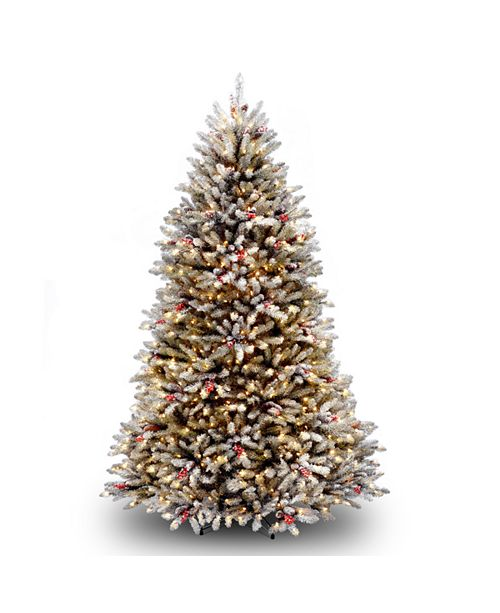 National Tree Company National Tree 7' Dunhill®  Fir Hinged Tree with Snow, Red Berries, Cones & Clear Lights