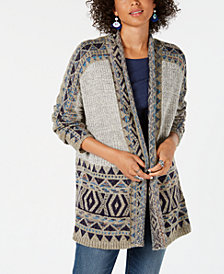 Style & Co Geometric Jacquard-Knit Sweater Coat, Created for Macy's