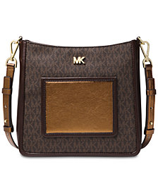 Michael Kors Signature Metallic Gloria Pocket Swing Pack Crossbody