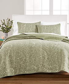 Martha Stewart Collection Botanical Quilt and Sham Collection, Created for Macy's