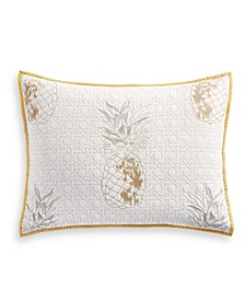 Embroidered Pineapple Standard Sham, Created for Macy's