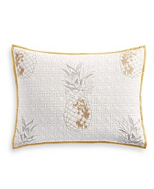 Martha Stewart Collection Embroidered Pineapple Standard Sham, Created for Macy's