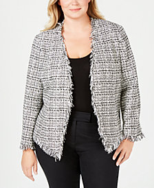 Calvin Klein Plus Size Tweed Blazer