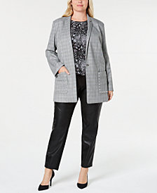 MICHAEL Michael Kors Plus Size Glen Plaid Blazer, Printed Layered-Look Top & Faux-Leather Leggings