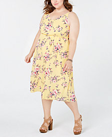 Soprano Trendy Plus Size Printed Blouson Midi Dress