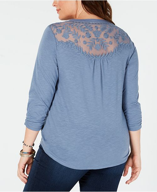 Style Co Plus Size Crochet Bib Split Neck Top Created For Macys