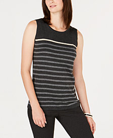 Charter Club Striped Sleeveless Top, Created for Macy's