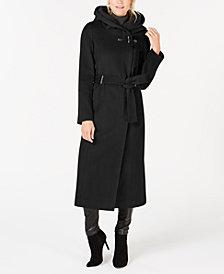 Calvin Klein Belted Hooded Maxi Coat