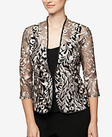 Alex Evenings Petite Embroidered Jacket & Top