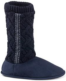Women's Tessa Sweater-Knit Tall Boot Slippers with Memory Foam