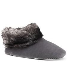 Isotoner Signature Women's Velour & Faux Fur Sabrine Bootie Slippers