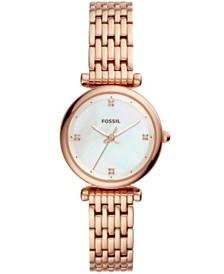 Fossil Women's Carlie Rose Gold-Tone Stainless Steel Bracelet Watch 29mm