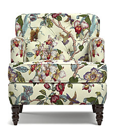 Suzanne Chair  in a textured linen-like neutral multi floral pattern with birds