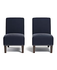 Bryce Armless Chair in Navy Blue Velvet (Set of 2)