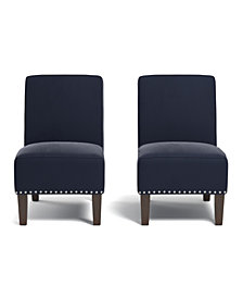 Bryce Armless Chair in Navy Blue Velvet (Set of 2)