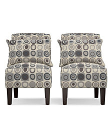 Bryce Armless Accent Chair Set in Gray, Black and Brown Geometric Circles