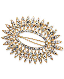 I.N.C. Gold-Tone Crystal Oval Hair Barrette, Created for Macy's