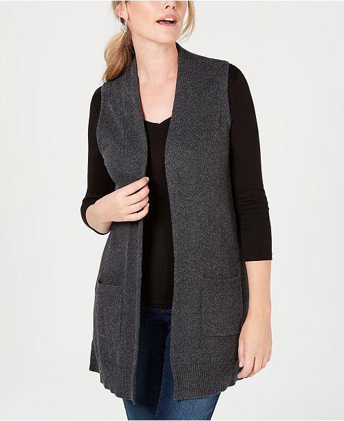 cfa83acb4ab Karen Scott Open-Front Sweater Vest