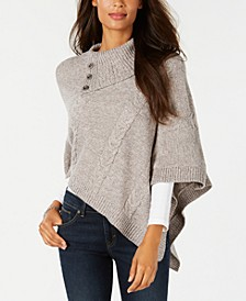 Asymmetric Cable-Knit Poncho Sweater, Created for Macy's