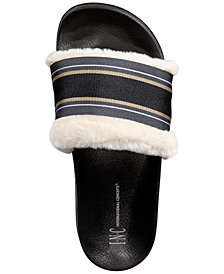 I.N.C. Faux-Fur Varsity Slide Slippers, Created for Macy's