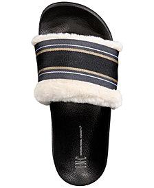 I.N.C. Faux-Fur Varsity Slide Slippers, Created for Macy's