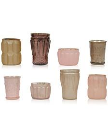 Mercury Light Pink Glass Tealight Holders, Set of 8