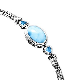 Larimar & Blue Topaz (3/4 ct. t.w.) Multi-Strand Bracelet in Sterling Silver
