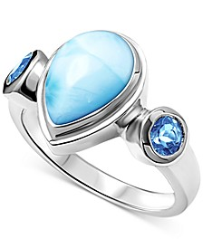 Larimar & Blue Topaz (3/4 ct. t.w.) Ring in Sterling Silver