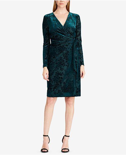 051584783f3 Lauren Ralph Lauren Flocked Velvet Wrap Dress   Reviews - Dresses ...
