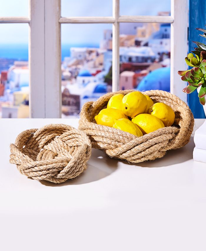 Two's Company - Thera Set of 2 HandWoven Rope Bowls Includes 2 Sizes