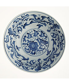 Blue and White Set of 2 Lotus Flower Lianzu Decorative Bowls