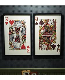 Play Your Cards Right Set of 2 Playing Card Paper Collage Wall Art Includes 2 Designs - King and Queen