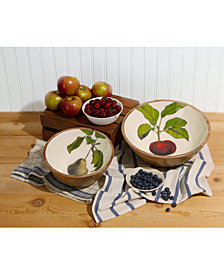 Farm to Table Set of 2 Bowls Includes 2 Sizes, Designs - Medium, Pears and Large, Apples (dry food only, hand wash only)
