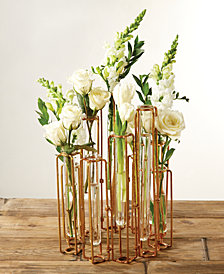 Lavoisier Set of 10 Hinged Flower Vases with Antiqued Gold Finish