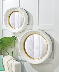 White Lacquer Set of 2 Round Convex Mirrors Includes 2 Sizes