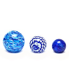 Two's Company Azul Sphere Paperweights, Set of 3